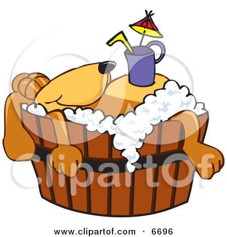 Brown Dog Mascot Cartoon Character With a Drink on His Belly, Taking a Bath Clipart Picture by Toons4Biz