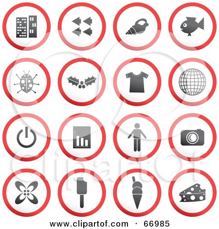 Royalty-Free (RF) Clipart Illustration of a Digital Collage Of Red, Gray And White Rounded Buttons - Version 4 by Prawny