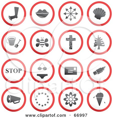 Royalty-Free (RF) Clipart Illustration of a Digital Collage Of Red, Gray And White Rounded Buttons - Version 5 by Prawny