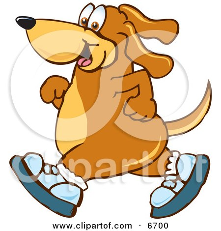 Brown Dog Mascot Cartoon Character Wearing Tennis Shoes and Taking a Walk Posters, Art Prints