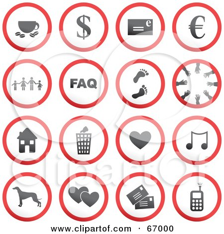 Royalty-Free (RF) Clipart Illustration of a Digital Collage Of Red, Gray And White Rounded Buttons - Version 1 by Prawny