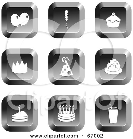 Royalty-Free (RF) Clipart Illustration of a Digital Collage Of Square Chrome Party Buttons by Prawny