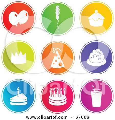 Royalty-Free (RF) Clipart Illustration of a Digital Collage Of Round Colorful Party Buttons by Prawny