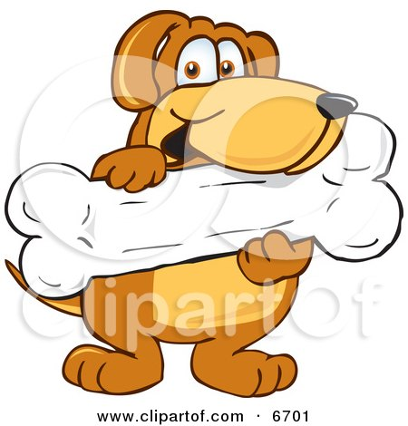Brown Dog Mascot Cartoon Character Holding a Big Doggy Bone Treat Clipart Picture by Toons4Biz