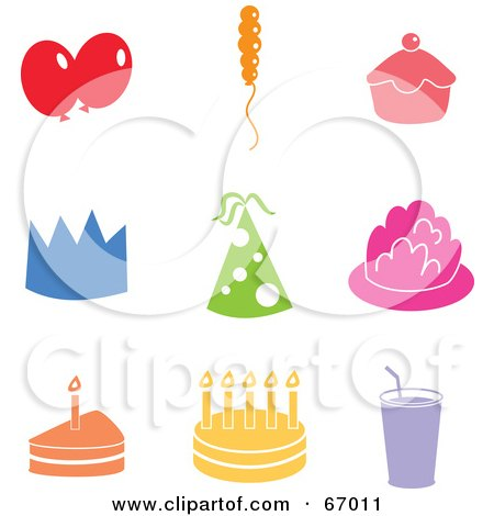 Royalty-Free (RF) Clipart Illustration of a Digital Collage Of Colorful Party Icons by Prawny