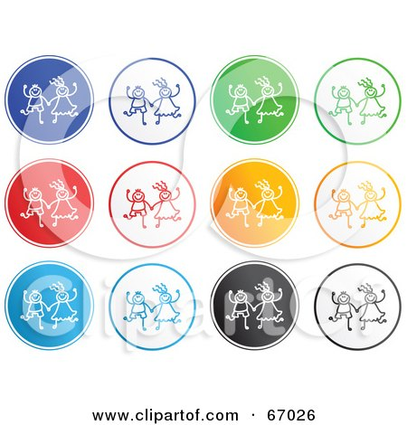 Royalty-Free (RF) Clipart Illustration of a Digital Collage of Rounded Kid Buttons by Prawny