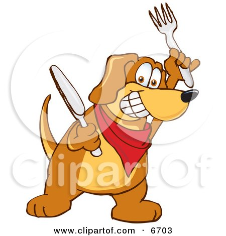 Brown Dog Mascot Cartoon Character Holding a Knife and Fork, Extremely Hungry Clipart Picture by Toons4Biz