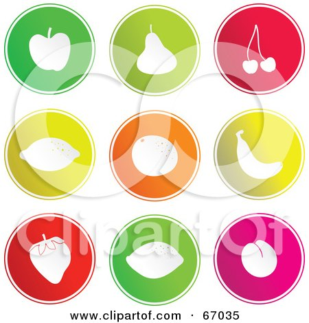 Royalty-Free (RF) Clipart Illustration of a Digital Collage Of Round Fruit Buttons by Prawny