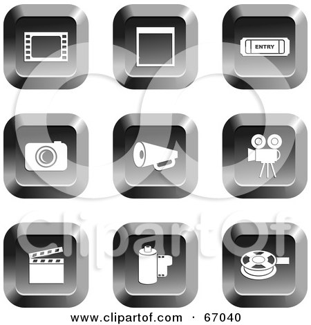 Royalty-Free (RF) Clipart Illustration of a Digital Collage Of Square Chrome Film Industry Buttons by Prawny