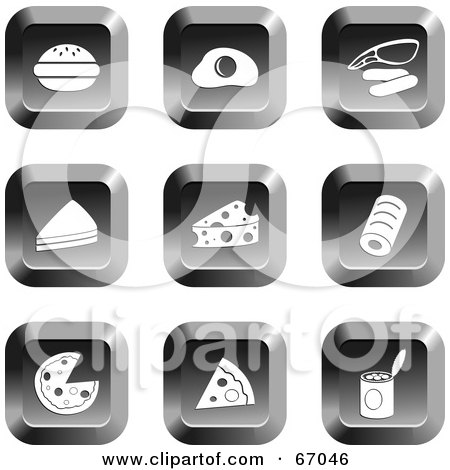 Royalty-Free (RF) Clipart Illustration of a Digital Collage Of Square Chrome Food Buttons by Prawny