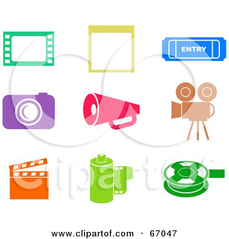 Royalty-Free (RF) Clipart Illustration of a Digital Collage Of Colorful Film Industry Icons by Prawny