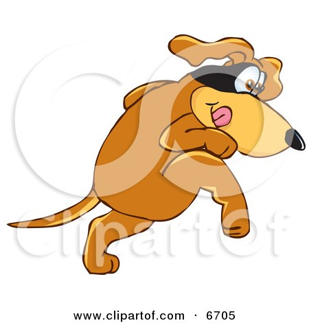 Brown Dog Mascot Cartoon Character With a Mask Over His Eyes, Being Sneaky Clipart Picture by Toons4Biz