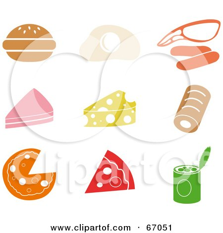 Royalty-Free (RF) Clipart Illustration of a Digital Collage Of Colorful Food Icons by Prawny