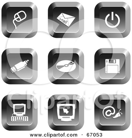 Royalty-Free (RF) Clipart Illustration of a Digital Collage Of Square Chrome Computer Buttons by Prawny