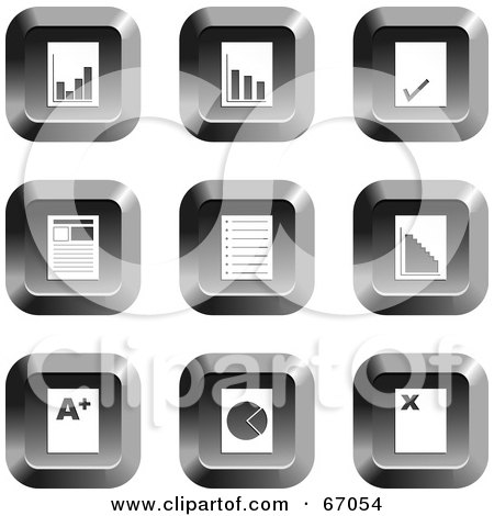Royalty-Free (RF) Clipart Illustration of a Digital Collage Of Square Chrome Document Buttons by Prawny