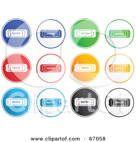 Royalty-Free (RF) Clipart Illustration of a Digital Collage of Rounded Entry Ticket Buttons by Prawny