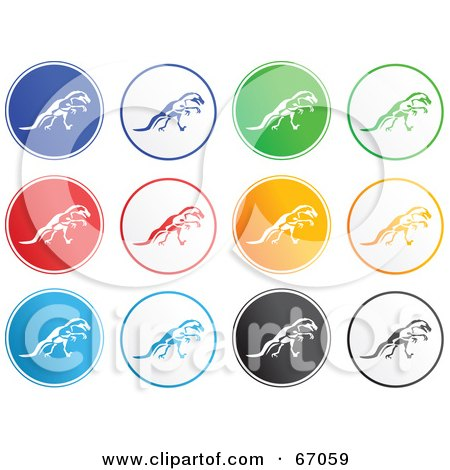 Royalty-Free (RF) Clipart Illustration of a Digital Collage of Rounded T Rex Buttons by Prawny
