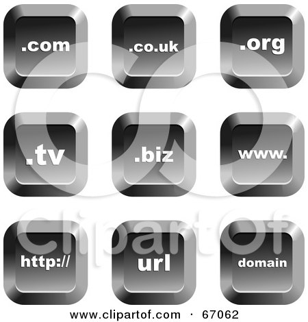 Royalty-Free (RF) Clipart Illustration of a Digital Collage Of Square Chrome Domain Buttons by Prawny
