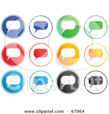 Royalty-Free (RF) Clipart Illustration of a Digital Collage Of Colorful Chat Box Buttons by Prawny