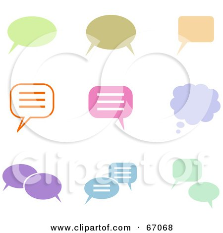 Royalty-Free (RF) Clipart Illustration of a Digital Collage Of Colorful Chat Box Icons by Prawny