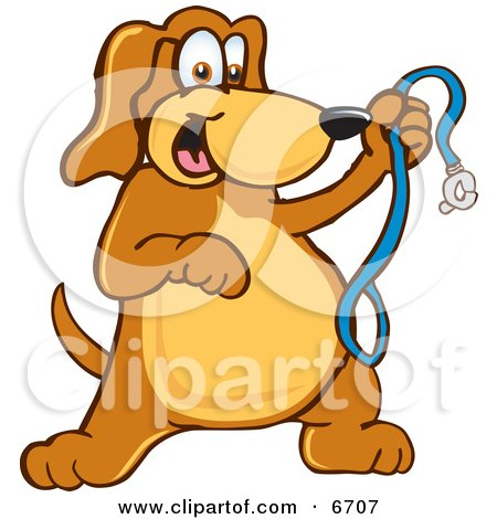 Brown Dog Mascot Cartoon Character Holding a Leash, Ready for a Walk Clipart Picture by Toons4Biz