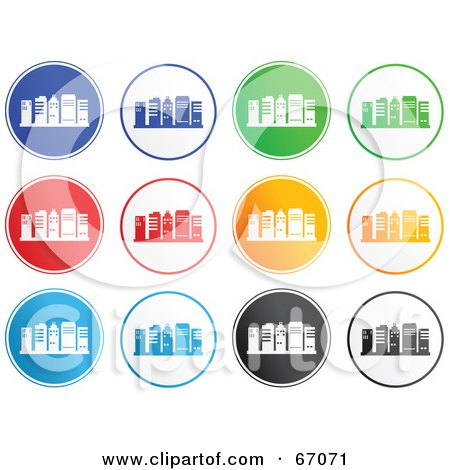 Royalty-Free (RF) Clipart Illustration of a Digital Collage Of Colorful Round Skyscraper Icons by Prawny