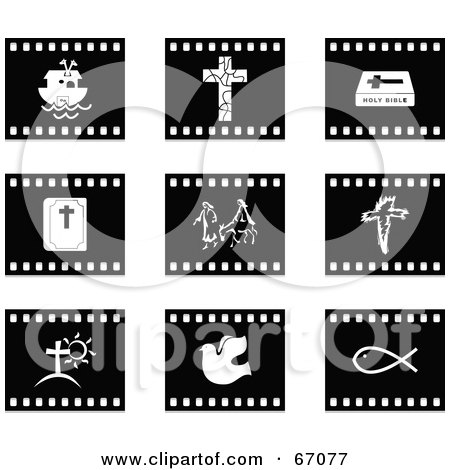 Royalty-Free (RF) Clipart Illustration of a Digital Collage Of Black And White Film Strip Christian Buttons by Prawny