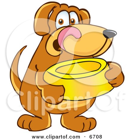 Brown Dog Mascot Cartoon Character Holding a Food Dish, Waiting to be Fed Clipart Picture by Toons4Biz