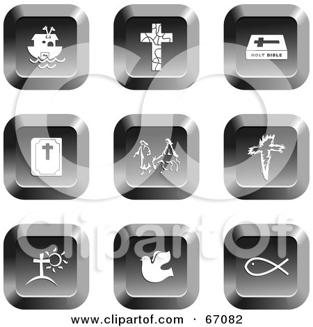 Royalty-Free (RF) Clipart Illustration of a Digital Collage Of Square Chrome Christian Buttons by Prawny