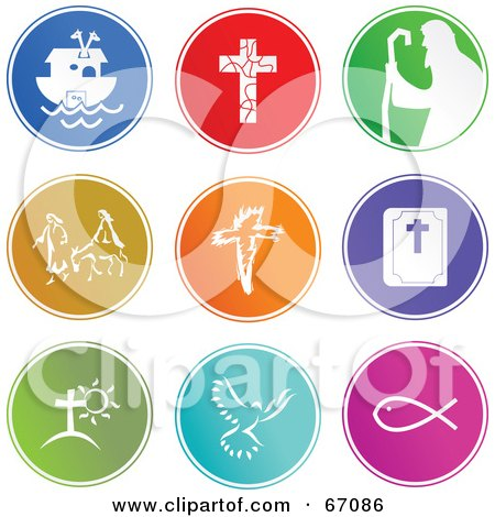 Royalty-Free (RF) Clipart Illustration of a Digital Collage Of Round Colorful Christian Buttons by Prawny