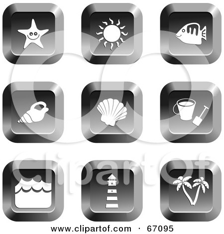 Royalty-Free (RF) Clipart Illustration of a Digital Collage Of Chrome Square Beach Item Buttons by Prawny