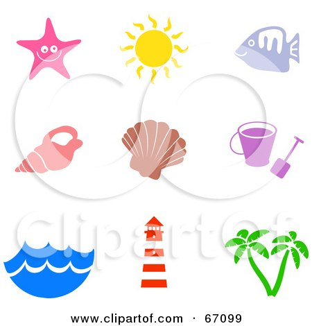 Royalty-Free (RF) Clipart Illustration of a Digital Collage Of Colorful Beach Icons by Prawny