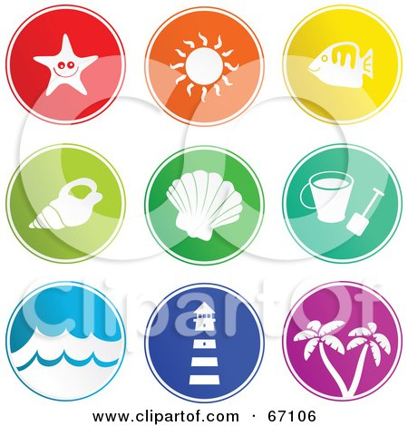 Royalty-Free (RF) Clipart Illustration of a Digital Collage Of Round Colorful Beach Item Buttons by Prawny