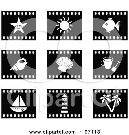 Royalty-Free (RF) Clipart Illustration of a Digital Collage Of Black And White Film Strip Beach Item Buttons by Prawny