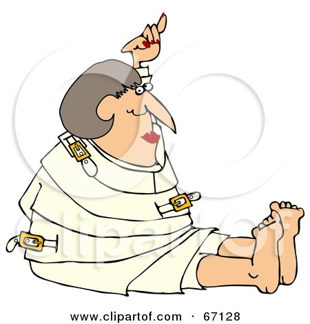 Royalty-Free (RF) Clipart Illustration of a Lady Restrained In A White Straitjacket by djart
