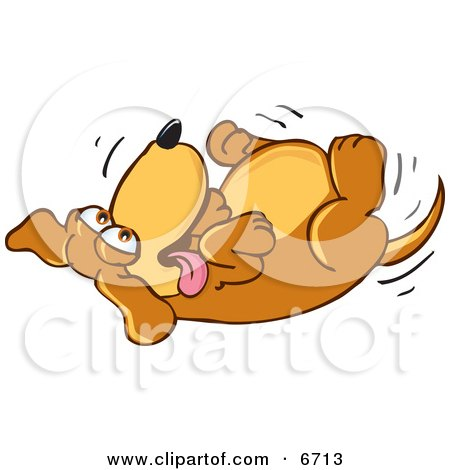 Brown Dog Mascot Cartoon Character Rolling Around on His Back, Asking for a Belly Rub Clipart Picture by Toons4Biz