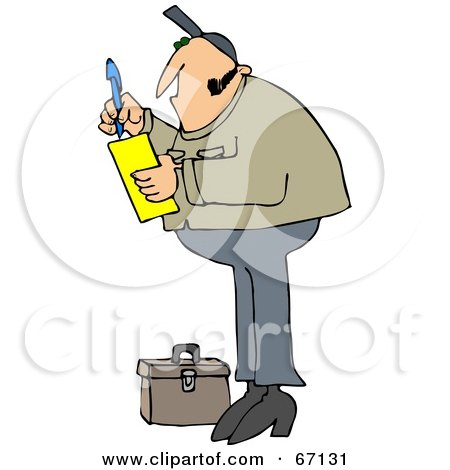 Royalty-Free (RF) Clipart Illustration of a Worker Man Standing By A Tool Box And Writing A Note On A Pad by djart
