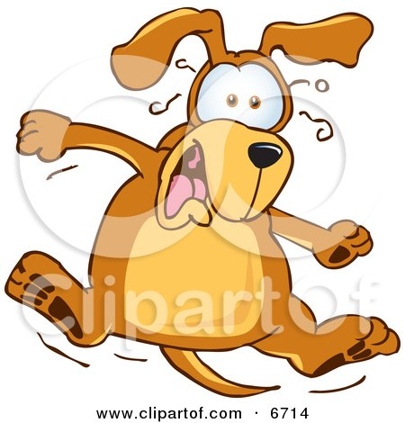 Brown Dog Mascot Cartoon Character Jumping in Shock Clipart Picture by Toons4Biz