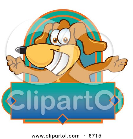 Brown Dog Mascot Cartoon Character With Open Arms Above a ...