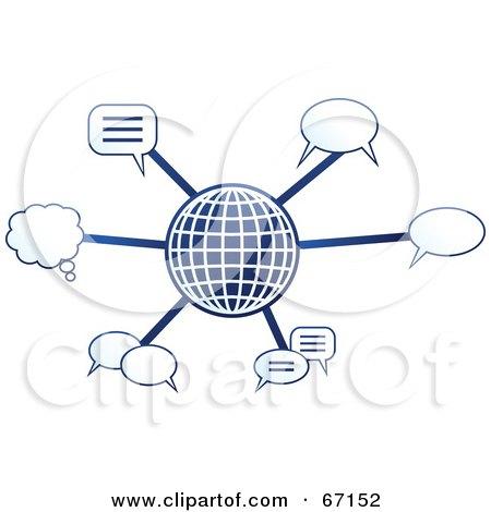 Royalty-Free (RF) Clipart Illustration of a Blue Molecule Communications Globe - Version 4 by Prawny