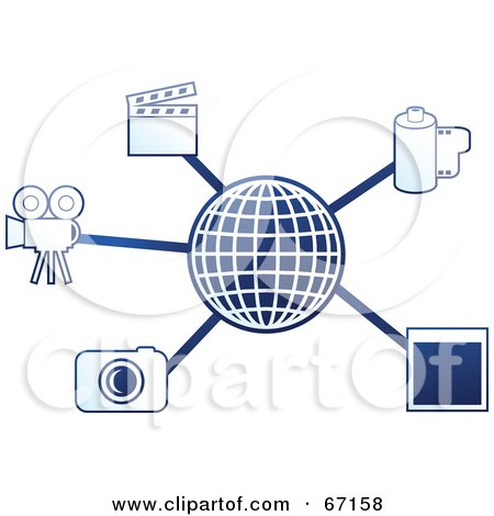 Royalty-Free (RF) Clipart Illustration of a Blue Molecule Media Globe - Version 2 by Prawny