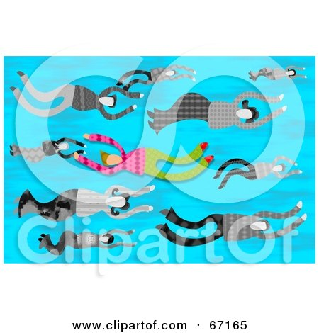 Royalty-Free (RF) Clipart Illustration of a Person Swimming Against The Flow, Through Other People by Prawny