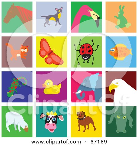 Royalty-Free (RF) Clipart Illustration of a Digital Collage of Colorful Animal Tiles by Prawny