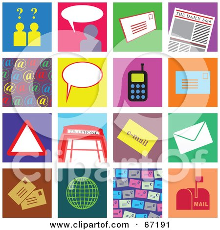Royalty-Free (RF) Clipart Illustration of a Digital Collage of Colorful Communication Tiles by Prawny