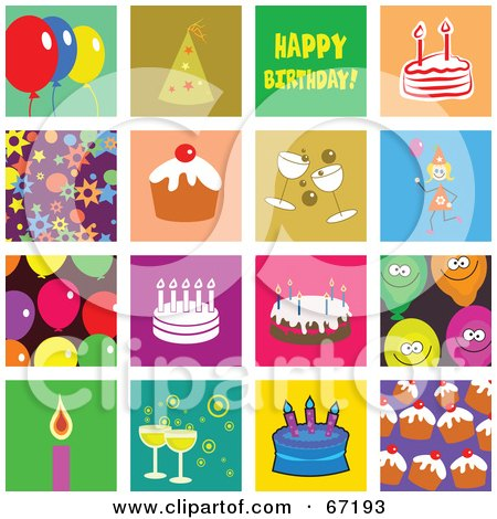 Royalty-Free (RF) Clipart Illustration of a Digital Collage of Colorful Birthday Tiles by Prawny