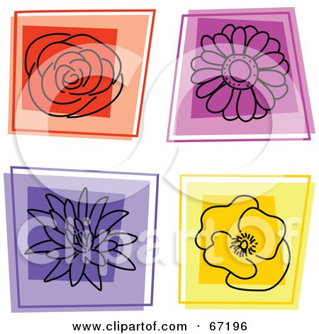 Royalty-Free (RF) Clipart Illustration of a Digital Collage Of Square Flower Icons by Prawny