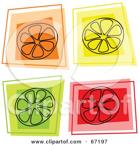 Royalty-Free (RF) Clipart Illustration of a Digital Collage Of Square Orange, Lemon And Lime Icons by Prawny