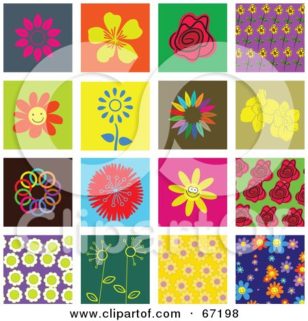 Royalty-Free (RF) Clipart Illustration of a Digital Collage Of Colorful Flower Tiles by Prawny