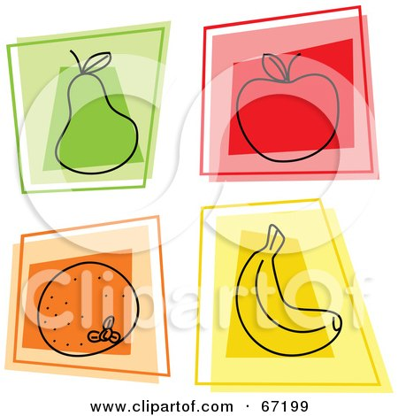 Royalty-Free (RF) Clipart Illustration of a Digital Collage Of Square Pear, Apple, Orange And Banana Icons by Prawny