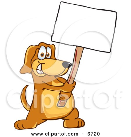 Brown Dog Mascot Cartoon Character Holding a Blank White Sign Clipart Picture by Toons4Biz